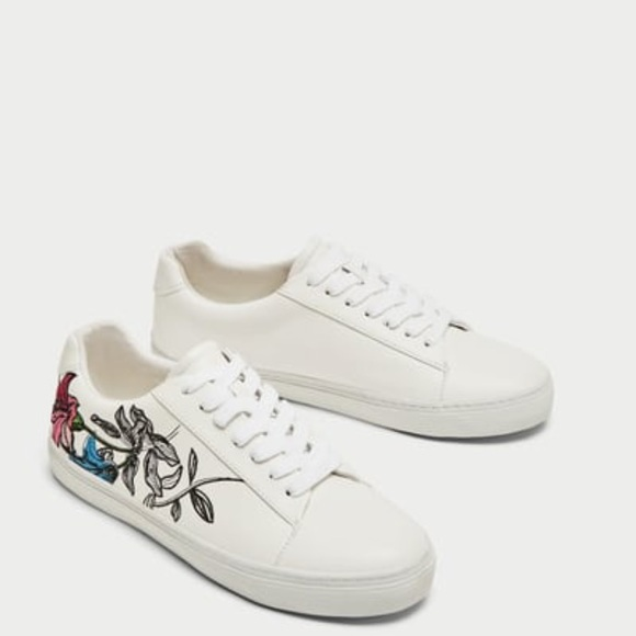New Zara Embroidered White Sneakers
